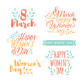 Set of pastel color logos to the International Women`s Day. Signs, badges, titles for the Day on 8 March. The text for
