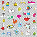 Set of Patches Elements like Flower, Heart, Crown, Cloud, Lips,