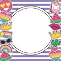 Set of patches or round badge cute cartoon stripes background