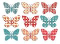 Set of patchwork butterflys 1. Stock Photo