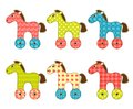 Set of patchwork horses isolated on white cartoon illustration Royalty Free Stock Photography