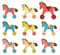 Set of patchwork horses template for your design isolated on white cartoon illustration Stock Photos
