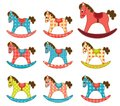 Set of patchwork horses template for your design isolated on white cartoon illustration Royalty Free Stock Photography