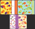 Set the pattern bright to cards with butterflies and hibiscus. Royalty Free Stock Photo
