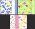 Set the pattern for cards with butterflies and hibiscus. vector Royalty Free Stock Photo