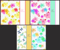 Set the pattern for horizontal cards with butterflies and hibisc Royalty Free Stock Photo
