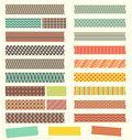 Set of cute retro patterned washi tape strips