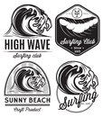 Set of patterns for design logos on the theme of water, surfing, ocean, sea Royalty Free Stock Photo