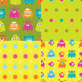 Set of patterns with monsters seamless Royalty Free Stock Images