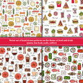Set of patterns on the theme of food, drink Royalty Free Stock Photo