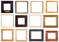 Set of 12 pcs square wooden picture frames Royalty Free Stock Photo