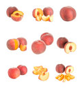 Set of peaches isolated Royalty Free Stock Photo