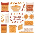 Set of peanuts on a white background. Collection of peanut desserts. Vector illustration in freehand drawing style
