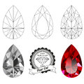 Set of pear cut jewel views Royalty Free Stock Photo
