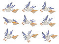 A set of pelicans storyboards the complete blue white flying Royalty Free Stock Image