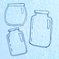 Set of pellucid glass jars in sketch style vector illustration Stock Photography