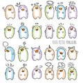 Set of Penguin baby cute vector illustration. Hand draw cartoon penguins for cards and posters.
