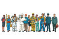 Set people of different professions standing in a row on white b Royalty Free Stock Photo