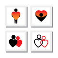 Set of people expressing sympathy love empathy compassion v vector icons this also represents concepts like romance intimacy self Royalty Free Stock Photography