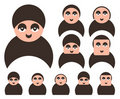 Set of people faces icons Stock Images