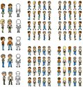 Set people with frame of move pixel right left forward and back Royalty Free Stock Photos