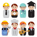 Set of people occupations icons vector illustration eps Royalty Free Stock Images