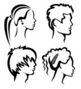 Set of people protraits with haircuts Stock Image