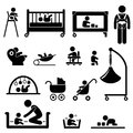 A set of people stick figure pictograms representing baby caring equipment and tools Royalty Free Stock Photos