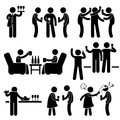 A set of people stick figure pictograms representing cocktail party with many friends gathering and hanging around with each Royalty Free Stock Photos