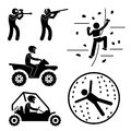 A set of people stick figure pictograms representing extreme game which includes paintball clay shooting rock climbing quad biking Royalty Free Stock Photo