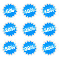 Set with percent blue of icons for your design Stock Image