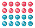 Set of percent discount sign icons sale symbol stars stickers Stock Images
