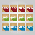 Set of percent icons flat wooden Royalty Free Stock Photos