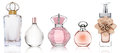 Set of perfume bottles on white background Royalty Free Stock Photo