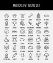 Set of pet icons in modern thin line style.