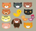 Set of  pets faces Royalty Free Stock Photography