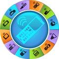 Set of Phone Icons - Wheel Royalty Free Stock Photo