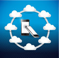 Set of phones cloud computing network diagram concept illustration design Stock Photo
