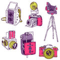 Set of Photo Cameras Stock Image