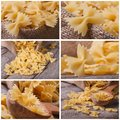 Set of photo farfalle pasta macro dry