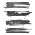 Set photo hand painted brush strokes ink isolated on white background Royalty Free Stock Photo