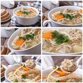 Set of photo soup with meatballs and noodles Royalty Free Stock Photo