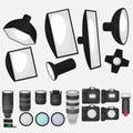 Set of photo studio equipment, light soft, camera and optic lenses flat icons Royalty Free Stock Photo