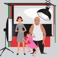 Set of photo studio equipment, paper photo background, light soft flat icons,  flash, reflector, softbox, professional photographi Royalty Free Stock Photo