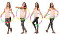 Set of photos with woman and hula hoop Royalty Free Stock Photo