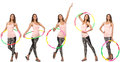 The set of photos with woman and hula hoop Royalty Free Stock Photo