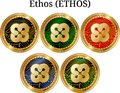 Set of physical golden coin Ethos ETHOS, digital cryptocurrency. Ethos ETHOS icon set.