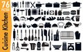 76 signage pictograms on kitchen utensils insects Royalty Free Stock Photo