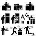 Set pictograms representing man cooking using kitchen equipment Stock Photo
