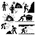 Set pictograms representing mining worker working hard mining area Royalty Free Stock Photography